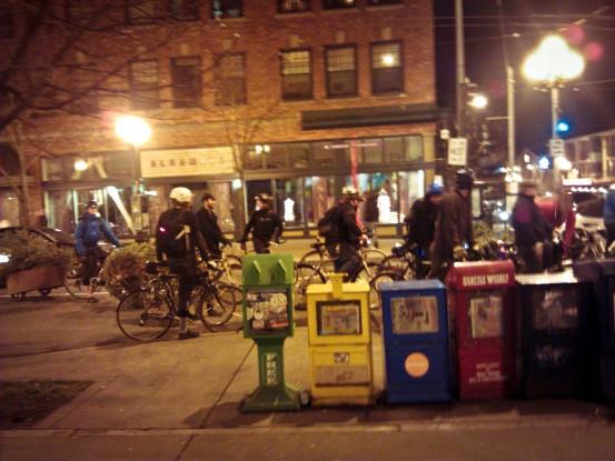 biking through downtown seattle with christmas trees